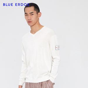 BLUE ERDOS 19新品 精纺V领袖部徽章男士轻薄针织衫