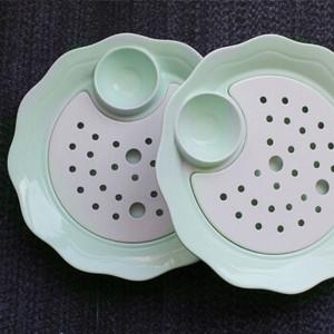 创意欧式陶瓷盘 双层沥水盘 饺子盘 酒店用品盘子厂家直销 荷叶边饺子盘2只装